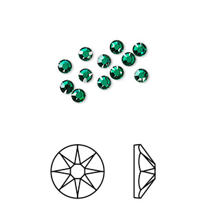 flat back, swarovski crystal rhinestone, crystal passions, emerald, foil back, 3-3.2mm xirius rose (2088), ss12. sold per pkg of 12.