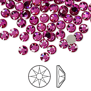 flat back, swarovski crystal rhinestone, crystal passions, fuchsia, foil back, 4.6-4.8mm xirius rose (2088), ss20. sold per pkg of 144 (1 gross).