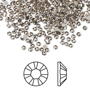 flat back, swarovski crystal rhinestone, crystal passions, greige, foil back, 2.1-2.3mm xilion rose (2058), ss7. sold per pkg of 12.