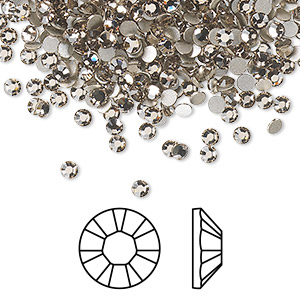 flat back, swarovski crystal rhinestone, crystal passions, greige, foil back, 2.5-2.7mm xilion rose (2028), ss9. sold per pkg of 1,440 (10 gross).