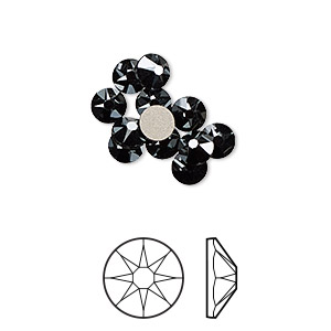 flat back, swarovski crystal rhinestone, crystal passions, jet hematite, foil back, 4.6-4.8mm xirius rose (2088), ss20. sold per pkg of 12.
