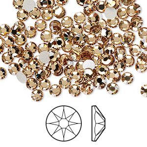 flat back, swarovski crystal rhinestone, crystal passions, light colorado topaz, foil back, 3.8-4mm xirius rose (2088), ss16. sold per pkg of 144 (1 gross).