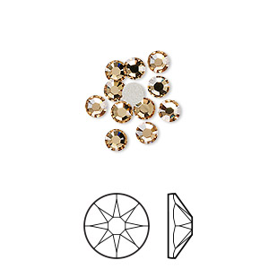 flat back, swarovski crystal rhinestone, crystal passions, light colorado topaz, foil back, 3.8-4mm xirius rose (2088), ss16. sold per pkg of 12.