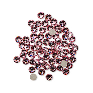 flat back, swarovski crystal rhinestone, crystal passions, light rose, foil back, 3-3.2mm xirius rose (2088), ss12. sold per pkg of 144 (1 gross).
