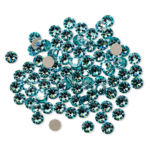 flat back, swarovski crystal rhinestone, crystal passions, light turquoise, foil back, 3-3.2mm xirius rose (2088), ss12. sold per pkg of 12.