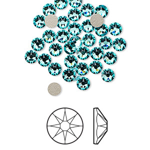 flat back, swarovski crystal rhinestone, crystal passions, light turquoise, foil back, 3.8-4mm xirius rose (2088), ss16. sold per pkg of 144 (1 gross).