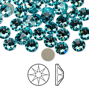 flat back, swarovski crystal rhinestone, crystal passions, light turquoise, foil back, 6.32-6.5mm xirius rose (2088), ss30. sold per pkg of 144 (1 gross).