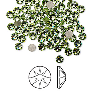 flat back, swarovski crystal rhinestone, crystal passions, peridot, foil back, 3-3.2mm xirius rose (2088), ss12. sold per pkg of 144 (1 gross).