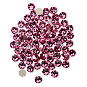flat back, swarovski crystal rhinestone, crystal passions, rose, foil back, 3.8-4mm xirius rose (2088), ss16. sold per pkg of 12.