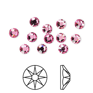 flat back, swarovski crystal rhinestone, crystal passions, rose, foil back, 4.6-4.8mm xirius rose (2088), ss20. sold per pkg of 12.