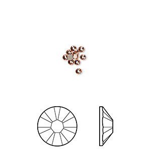 flat back, swarovski crystal rhinestone, crystal passions, rose peach, foil back, 1.7-1.9mm xilion rose (2058), ss5. sold per pkg of 12.