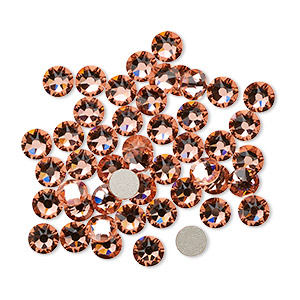 flat back, swarovski crystal rhinestone, crystal passions, rose peach, foil back, 4.6-4.8mm xirius rose (2088), ss20. sold per pkg of 12.