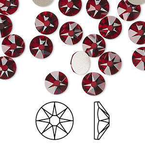 flat back, swarovski crystal rhinestone, crystal passions, siam, foil back, 7.07-7.27mm xirius rose (2088), ss34. sold per pkg of 12.