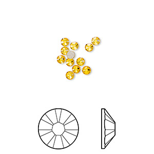 flat back, swarovski crystal rhinestone, crystal passions, sunflower, foil back, 2.5-2.7mm xilion rose (2058), ss9. sold per pkg of 12.