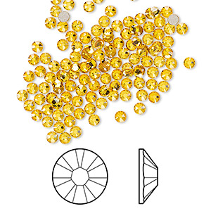 flat back, swarovski crystal rhinestone, crystal passions, sunflower, foil back, 2.5-2.7mm xilion rose (2058), ss9. sold per pkg of 144 (1 gross).