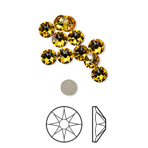 flat back, swarovski crystal rhinestone, crystal passions, sunflower, foil back, 4.6-4.8mm xirius rose (2088), ss20. sold per pkg of 12.