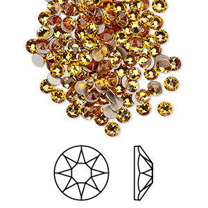 flat back, swarovski crystal rhinestone, crystal passions, topaz, foil back, 3-3.2mm xirius rose (2088), ss12. sold per pkg of 12.
