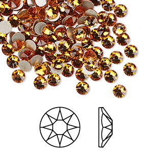 flat back, swarovski crystal rhinestone, crystal passions, topaz, foil back, 3.8-4mm xirius rose (2088), ss16. sold per pkg of 12.