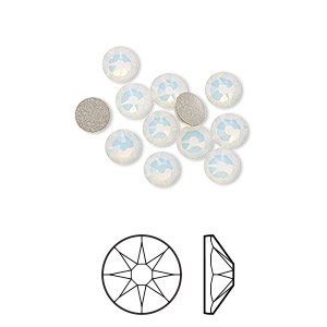 flat back, swarovski crystal rhinestone, crystal passions, white opal, foil back, 4.6-4.8mm xirius rose (2088), ss20. sold per pkg of 12.