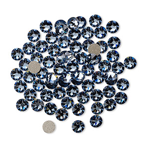 flat back, swarovski crystal rhinestone, denim blue, foil back, 3-3.2mm xirius rose (2088), ss12. sold per pkg of 1,440 (10 gross).