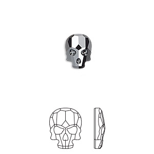 flat back, swarovski crystal rhinestone, jet hematite, 10x7.5mm faceted skull (2856). sold per pkg of 72.