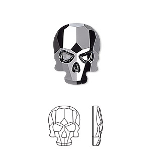 flat back, swarovski crystal rhinestone, jet hematite, 18x14mm faceted skull (2856). sold per pkg of 30.