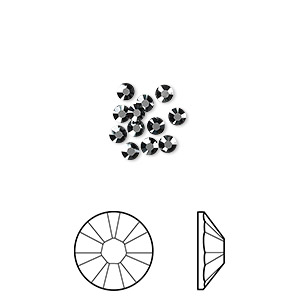 flat back, swarovski crystal rhinestone, jet hematite, foil back, 2.5-2.7mm xilion rose (2058), ss9. sold per pkg of 12.