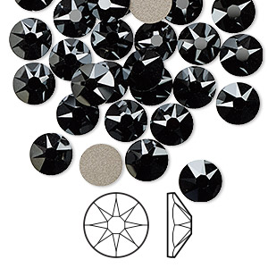 flat back, swarovski crystal rhinestone, jet hematite, foil back, 7.07-7.27mm xirius rose (2088), ss34. sold per pkg of 144 (1 gross).