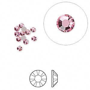 flat back, swarovski crystal rhinestone, light rose, foil back, 2.5-2.7mm xilion rose (2058), ss9. sold per pkg of 12.