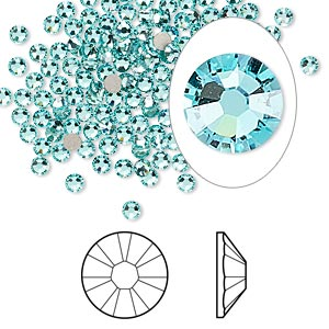 flat back, swarovski crystal rhinestone, light turquoise, foil back, 2.5-2.7mm xilion rose (2058), ss9. sold per pkg of 1,440 (10 gross).