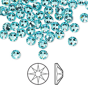 flat back, swarovski crystal rhinestone, light turquoise, foil back, 4.6-4.8mm xirius rose (2088), ss20. sold per pkg of 1,440 (10 gross).