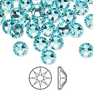 flat back, swarovski crystal rhinestone, light turquoise, foil back, 7.07-7.27mm xirius rose (2088), ss34. sold per pkg of 144 (1 gross).