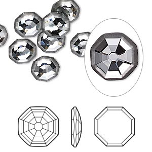 flat back, swarovski crystal rhinestone, partially frosted crystal silver night, foil back, 8mm solaris (2611/g). sold per pkg of 144 (1 gross).