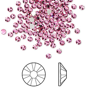 flat back, swarovski crystal rhinestone, rose, foil back, 2.5-2.7mm xilion rose (2058), ss9. sold per pkg of 1,440 (10 gross).
