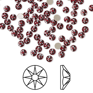 flat back, swarovski crystal rhinestone, siam, foil back, 3-3.2mm xirius rose (2088), ss12. sold per pkg of 1,440 (10 gross).