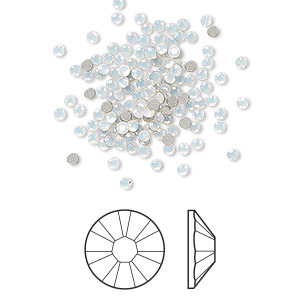 flat back, swarovski crystal rhinestone, white opal, foil back, 1.7-1.9mm xilion rose (2058), ss5. sold per pkg of 144 (1 gross).
