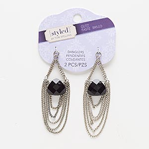 focal, acrylic and antiqued silver-finished pewter (zinc-based alloy), black, 3x1 inches with teardrop. sold per pkg of 2.