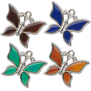 focal, acrylic and imitation rhodium-plated pewter (zinc-based alloy), multicolored, 30x21mm color-changing single-sided butterfly. sold per pkg of 2.