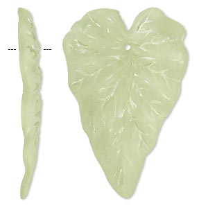 focal, acrylic, frosted light green, 50x32mm leaf. sold per pkg of 25.