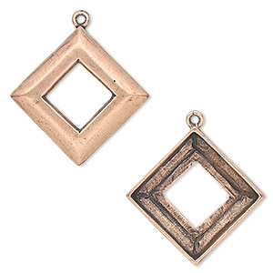 focal, almost instant jewelry, antique copper-plated pewter (tin-based alloy), 30x30mm open diamond with 20x20mm square ring setting. sold individually.