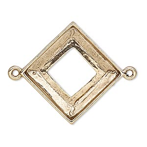 focal, almost instant jewelry, antique gold-plated pewter (tin-based alloy), 30.5x30.5mm open diamond with 20x20mm square ring setting. sold individually.