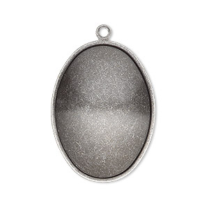 focal, almost instant jewelry, antique silver-plated brass, 32x23.5mm oval with 30x22mm oval setting. sold per pkg of 2.