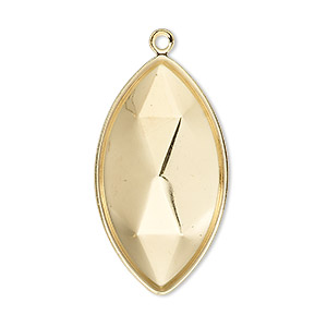 focal, almost instant jewelry, gold-plated brass, 34x19mm marquise with 32x17mm marquise setting. sold per pkg of 2.
