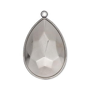 focal, almost instant jewelry, gunmetal-plated brass, 32x22.5mm pear with 30x20mm pear setting. sold per pkg of 2.