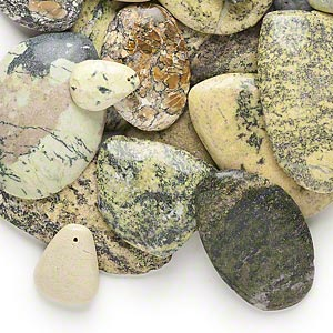 focal and cabochon mix, yellow turquoise (dyed / stabilized), 20x12mm-58x35mm drilled and undrilled freeform, mohs hardness 2-1/2 to 6. sold per 1-pound pkg, approximately 15 pieces.