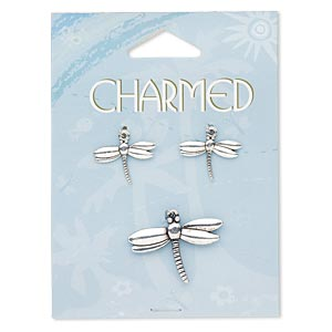 focal and charm, antique silver-finished pewter (zinc-based alloy), (1) 30x20mm double-sided dragonfly and (2) 20x15mm double-sided dragonfly. sold per 3-piece set.