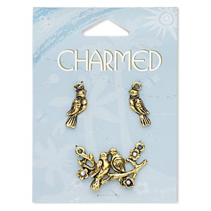 focal and charm, glass rhinestone and antique gold-finished pewter (zinc-based alloy), clear ab, 34x20mm doves on branch with 2 loops and 18x16mm right- and left-facing dove. sold per 3-piece set.