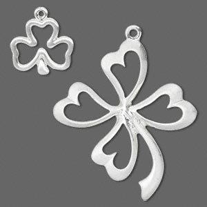 focal and charm, silver-finished pewter (zinc-based alloy), 15x14mm double-sided open 3-leaf clover and 37x34mm single-sided open 4-leaf clover. sold per pkg of 4.