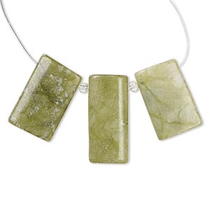 focal and drop, jungle jasper (natural), 35x16mm-35x18mm and 29x16mm-30x18mm puffed rectangle with flat back, c grade, mohs hardness 2-1/2 to 6. sold per 3-piece set.