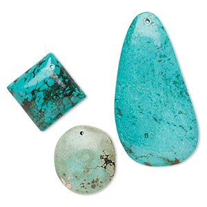 focal and drop mix, magnesite (dyed / stabilized), mixed colors, 25x19mm-63x38mm mixed shape, mohs hardness 3-1/2 to 4. sold per pkg of 3.